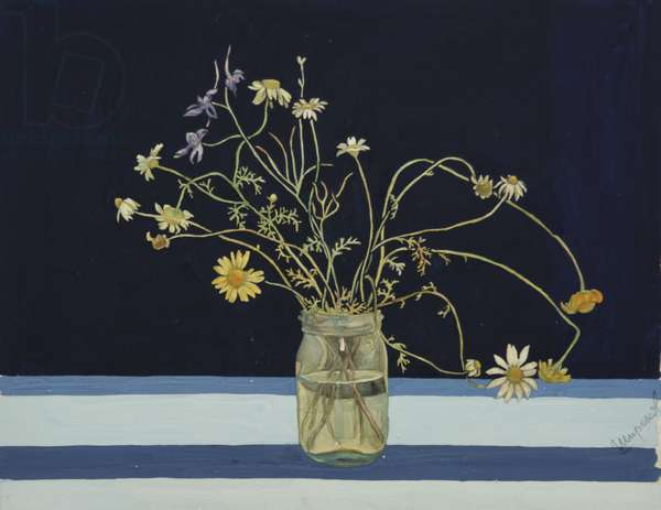 Still Life on a Blue Background, c.1960 (tempera on paper)