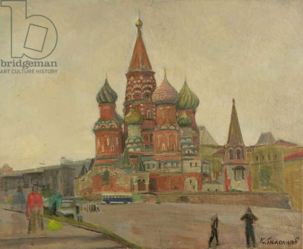 St. Basil's Cathedral on the Red Square, 1950s (oil on canvas)