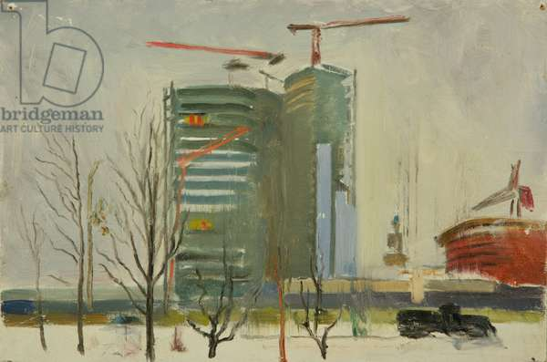 The New Moscow is Being Built - the Comecon Building, 1966 (oil on card)