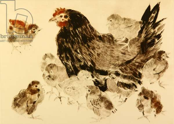 Hen with Chickens, 2006 (drypoint)