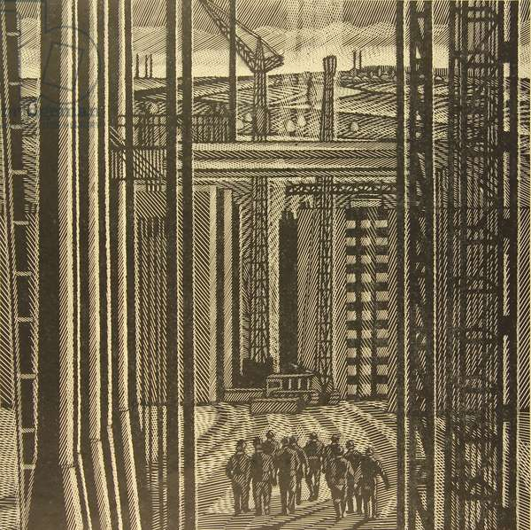 The Construction site of the Oskol Electrometallurgical Industrial Complex, 1969 (linocut)