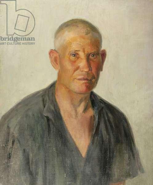 Portrait of Kolkhoz Farmer Grigorii Kartashov, from the Timoshenko Kolkhoz, Krasnodarskii Krai, 1930s (oil on canvas)