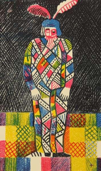 Arlecchino's (Harlequin) Solitude, 1980 (colour litho)