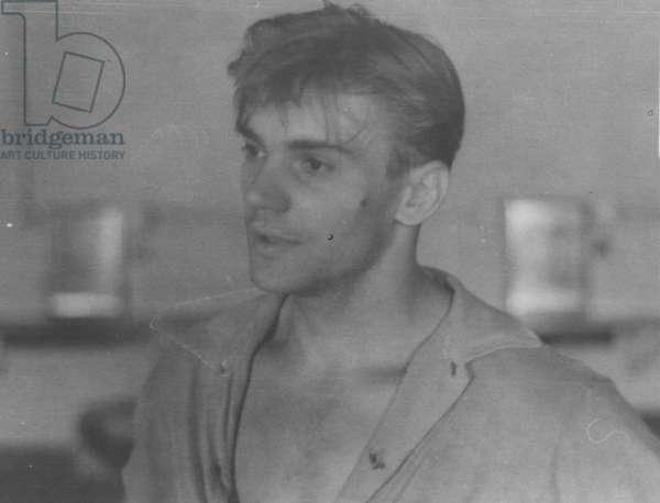 Solo Dancer Vladimir Vasiliev at rehearsal, Bolshoi Theatre, Moscow, 1970s (b/w photo)
