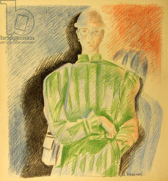 Woman in Green Coat, 1992 (colour pencil on paper)