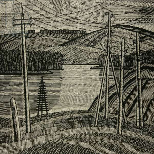 High Voltage over the Don, 1989 (linocut)