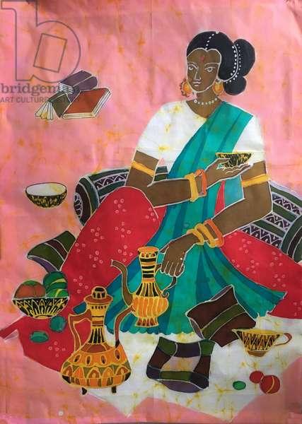 Tea Drinking in India, 2019 (hot batik)