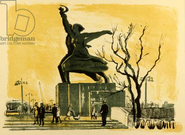 The Monument to the 'The Worker and the Peasant', Exhibition of Economical Achievements, Moscow, 1962 (colour litho)