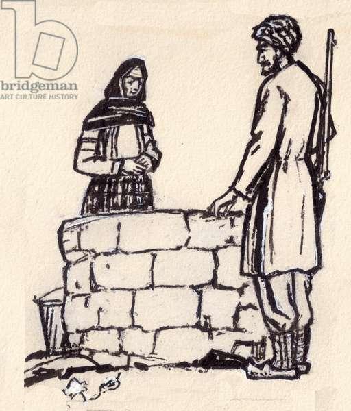 "Illustration from ""The Bird Cherry"", Salam Kadyrzade, 1965 (gouache on paper)"