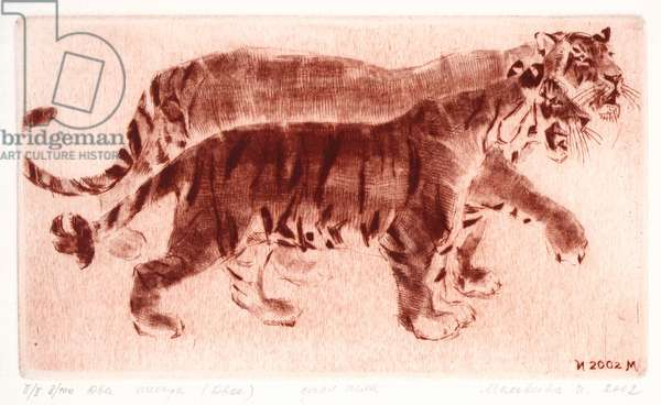 Two Tigers, 2002 (drypoint)
