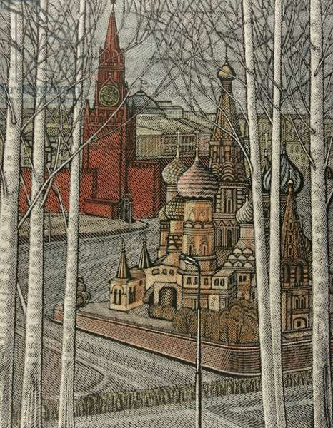 St. Basil's Cathedral and Spasskaya Tower, 1997 (linocut & w/c on paper)