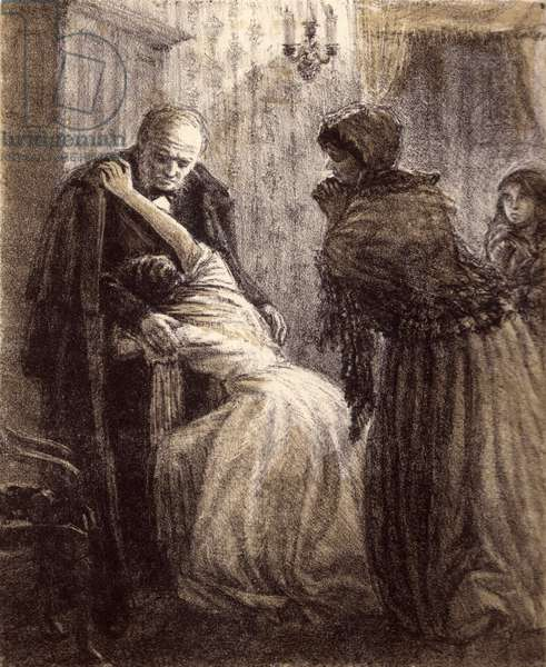 "Natasha's return, Illustration to Fyodor Dostoyevsky's novel ""Humiliated and Insulted"" (1861), 1949 (litho)"