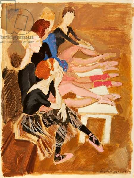 Ballerinas Between Rehearsals, 1970 (tempera on paper)
