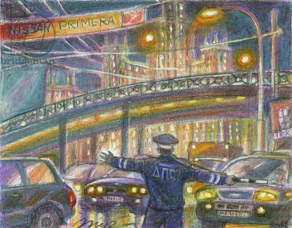 In the Stream of Cars, 2008 (coloured pencil on paper)
