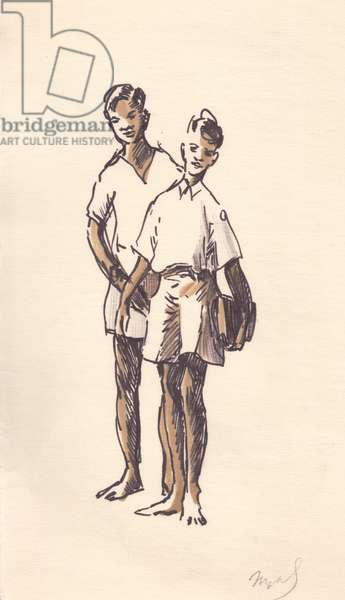 Two Sri Lankan School Boys, 1960 (tempera on paper)