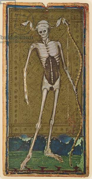 Death, fascimile of a tarot card from the 'Visconti' deck, 1441-47 (colour litho)