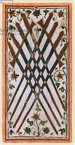 The Eight of Swords, facsimile of a tarot card from the 'Visconti' deck, 1441-47 (colour litho)
