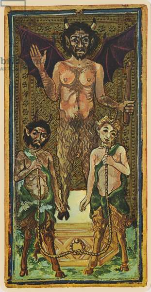 The Devil, fascimile of a tarot card from the 'Visconti' deck, 1441-47 (colour litho)