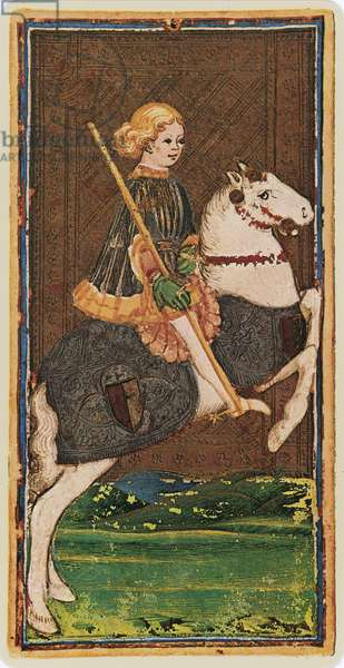 The Knight of Wands, facsimile of a tarot card from the 'Visconti' deck, 1441-47 (colour litho)