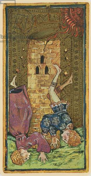 The Tower, fascimile of a tarot card from the 'Visconti' deck, 1441-47 (colour litho)