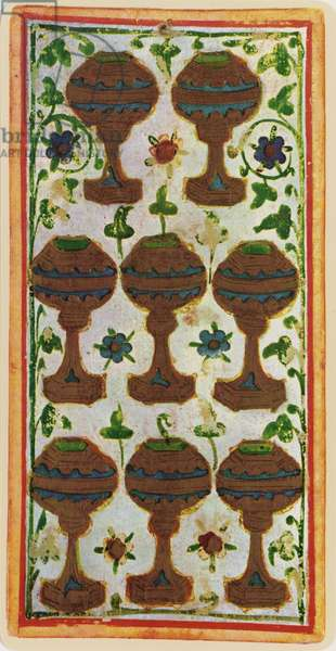 The Eight of Cups, facsimile of a tarot card from the 'Visconti' deck, 1441-47 (colour litho)