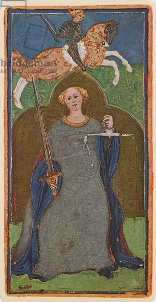 Justice, fascimile of a tarot card from the 'Visconti' deck, 1441-47 (colour litho)