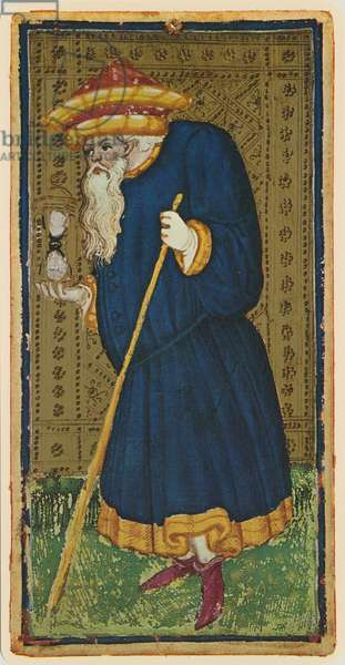 The Hermit, fascimile of a tarot card from the 'Visconti' deck, 1441-47 (colour litho)