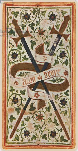 The Two of Swords, facsimile of a tarot card from the 'Visconti' deck, 1441-47 (colour litho)