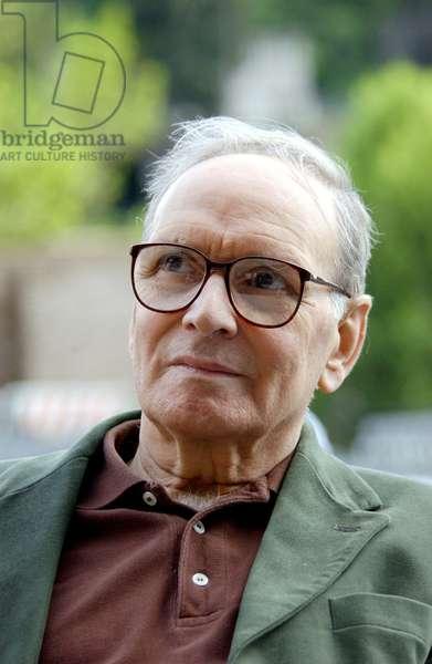 21/05/2004: portrait du compositeur Ennio Morricone à Massenzio. Photo Frassineti