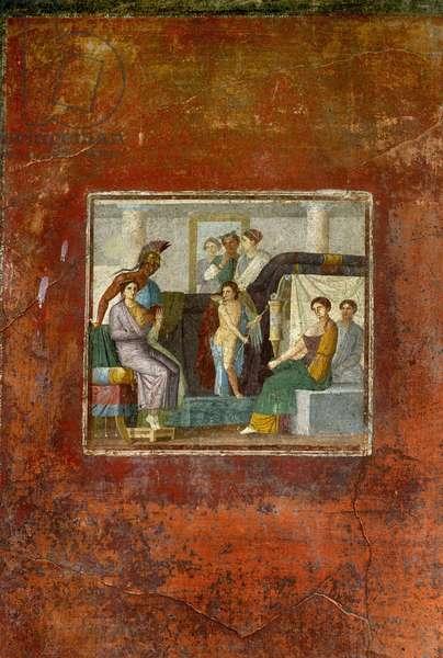Fouille de Pompei: la maison de Lucrezio Frontone. Fresque representant une scene mythologique. Photo Frassineti ©AGF/Leemage