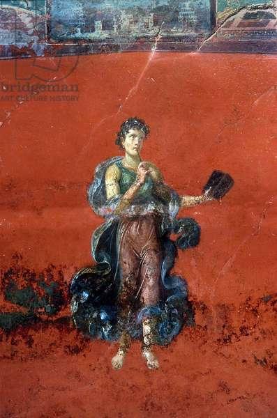 Femme romaine avec livre et stylo (stylet ou style). Detail de la fresque de la Domus Romana retrouvée à Moregine prés de Pompei sous l'autoroute Naples - Salerne. Elle se trouve dans le Triclinium A sur la paroi Ouest représentant la Muse de la poésie lyrique Calliope. © Frassineti/AGF/Leemage