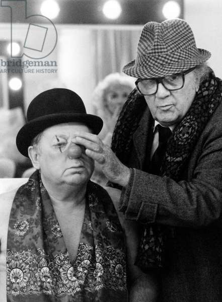 Federico Fellini and Paolo Villaggio, Cinecitta, Rome, 1992 (b/w photo)