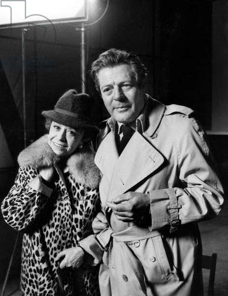 Giulietta Masina and Marcello Mastroianni on the set of the film Ginger and Fred, Cinecittà, Rome, 1985 (b/w photo)