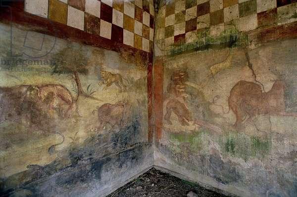 Fouilles de Pompei: la maison de Lucrezio Frontone. Fresque representant une scene de chasse. Photo Frassineti ©AGF/Leemage