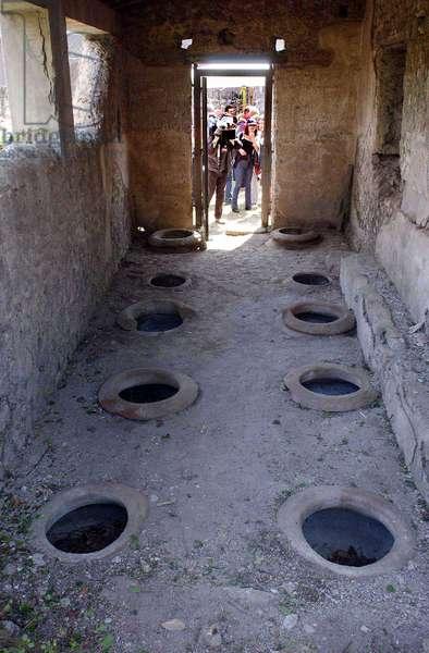 Cellule où l'on concervait le vin, villa des mystères, Pompei. ©AGF/Leemage