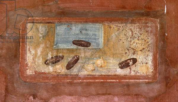 Fouilles de Pompei. Detail d'une fresque de la villa de Fabio Rufo. Nature morte d'oignons et d'haricots. Photo Frassineti ©AGF/Leemage