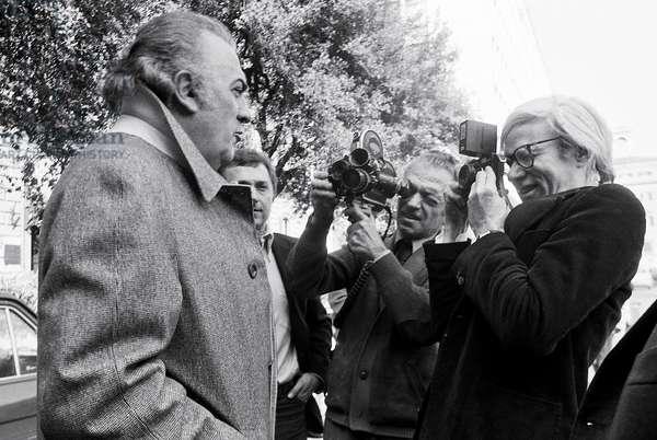 01/03/1977 Rome, Andy Warhol And Federico Fellini (b/w photo)