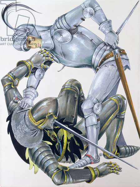 The Big Knight is slain by Sir Lancelot, an illustration for 'Sir Lancelot of the Lake', by Roger Lancelyn Green, published by Purnell, 1967 (gouache on paper)
