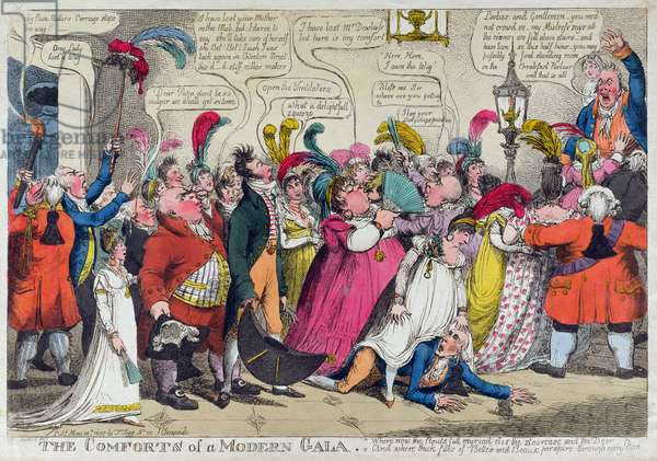The Comforts of a Modern Gala, published by T. Tegg, Cheapside, London, 1807 (colour engraving)