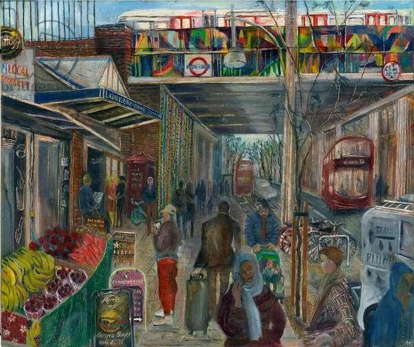 Ladbroke Grove just before lockdown: 4, the station, 2020 (oil on board)