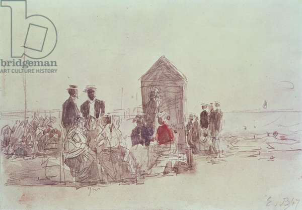 People on the beach at Deauville, 1867 (w/c)