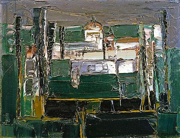 Outside Siena, 1953 (oil on board)