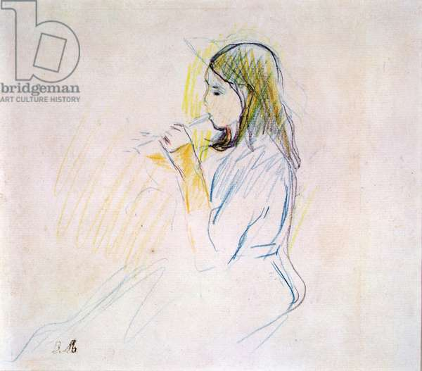 Manet's Daughter Playing the Recorder (coloured pencil on paper)
