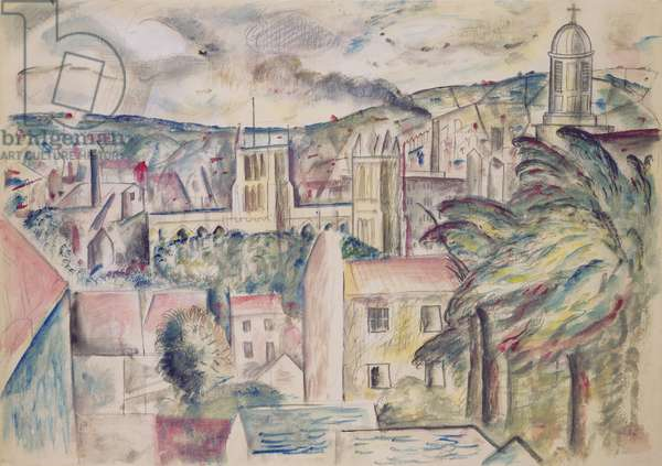 Bristol Cathedral, 1927 (pencil and watercolour on paper)