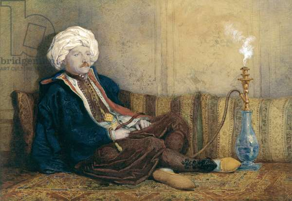 Portrait of Sir Thomas Philips in Eastern Costume, Reclining with a Hookah (w/c heightened with white on paper)