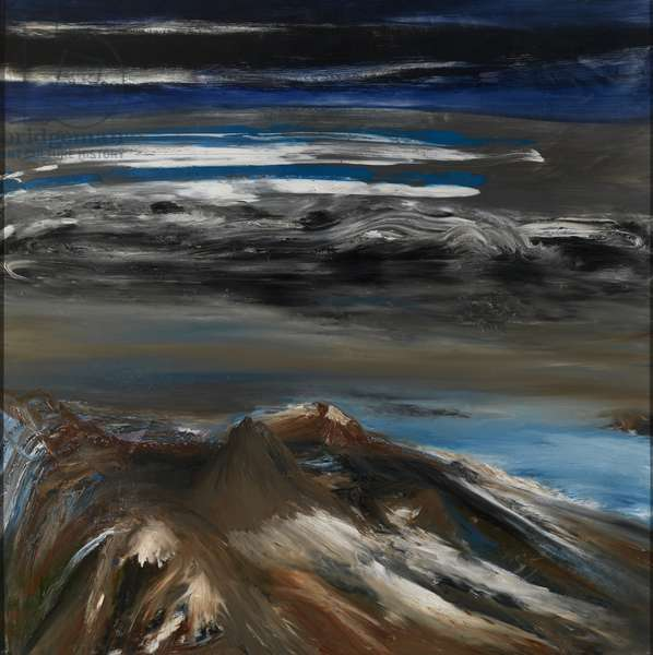 Volcanic Ridge, Antarctica, 1964 (ripolin on board)