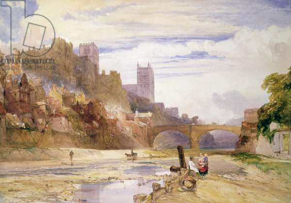 Durham from the River (w/c)