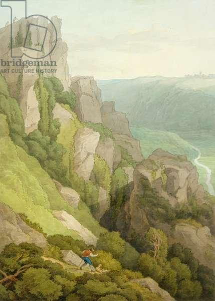 Morwell Rocks (w/c on paper)