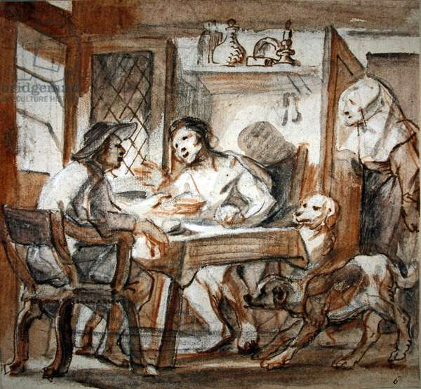 Esau selling his birthright to Jacob (black & red chalk, pen & brown ink, brown wash, heightened with white)