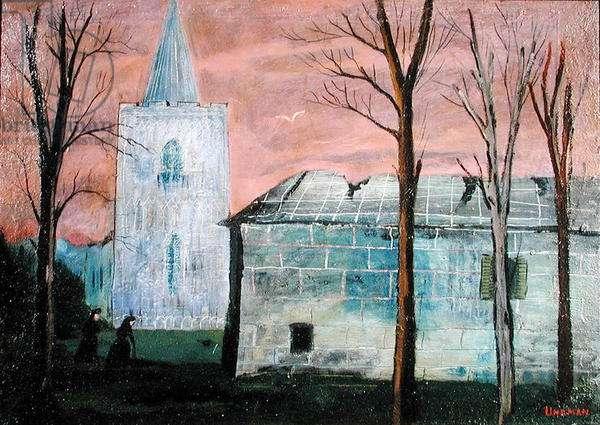 Village Church (oil on panel)